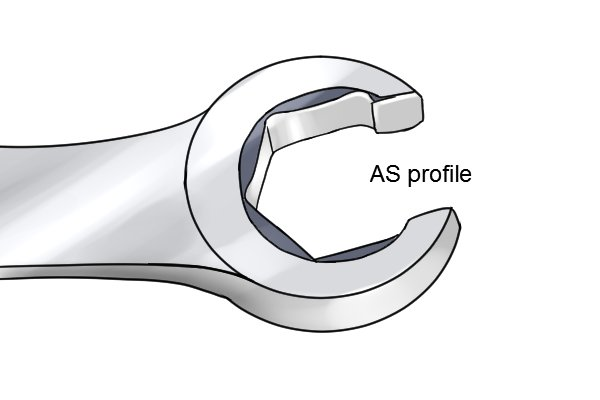 Flare nut spanner with an improved profile which focusses force on the sides of the fastener instead of the corners.