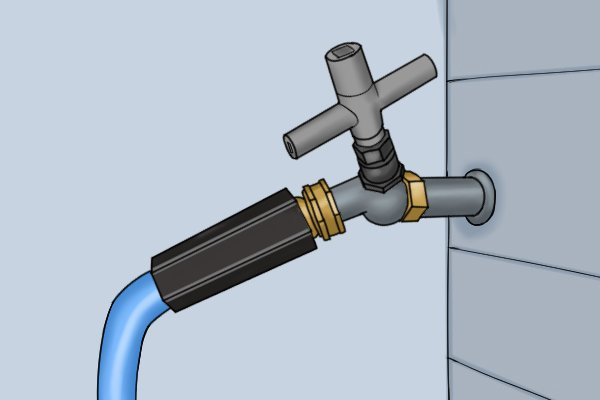 Using a utility and service or control cabinet key to regulate tap flow.