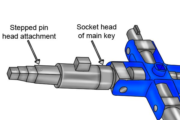 Some models of utility and control or service cabinet keys have a stepped pin attachment held in place by a magnet.