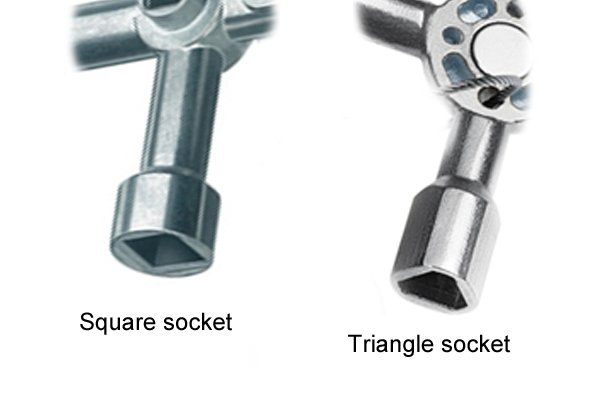Square and triangle sockets of utility and service or control-cabinet keys