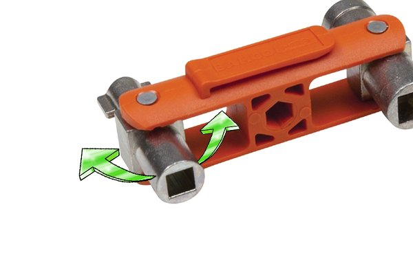 swivel headed utility and control or service key can be adjusted to different angles to allow for awkward turning spaces.