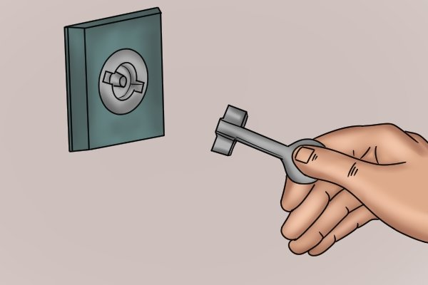 circle-with-fins lock and utility and service or control-cabinet key profile