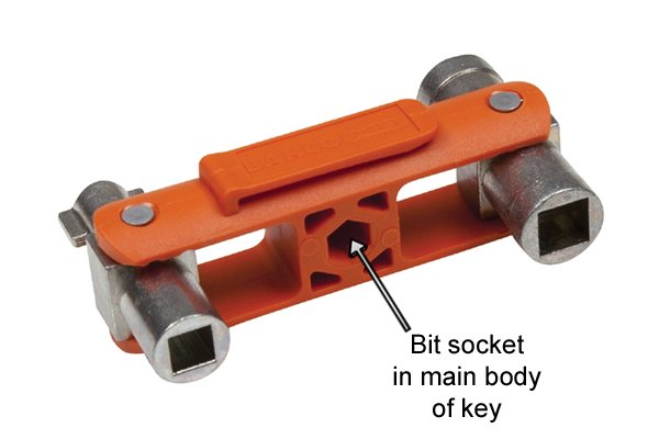 Bit socket in main body of utility and control or service cabinet key