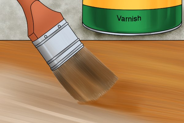 Varnish is a clear, hard layer that protects the material from knocks and scrapes