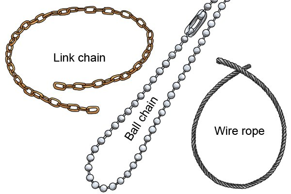 Different types of chain that are provided with some utility and control or service cabinet keys