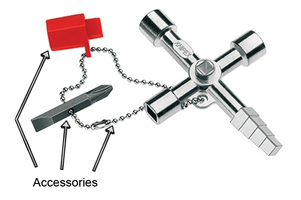 Some accessories of a utility an service or control cabinet key including two way bit, chain and adaptor