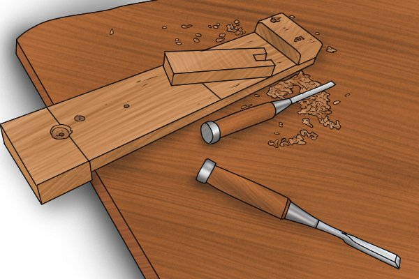 Chisels bench hook and workpiece