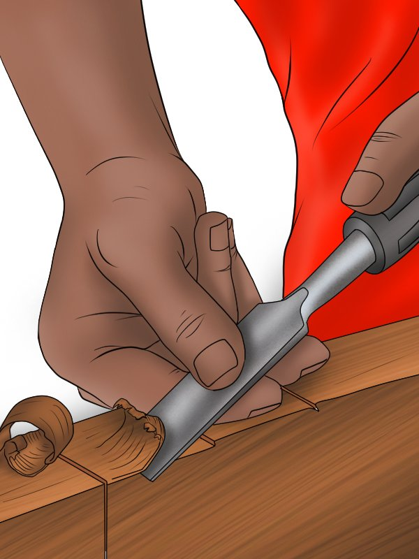 Chiselling wood with the grain