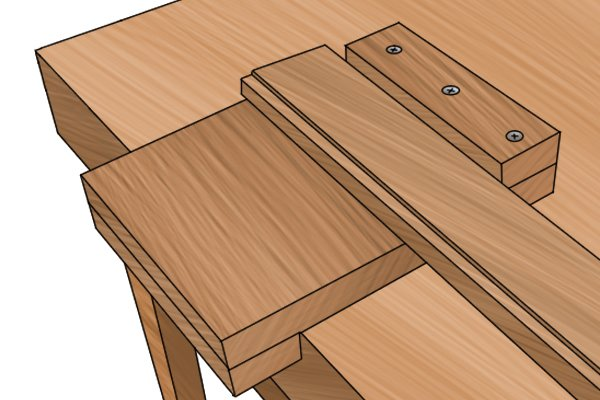 Place the workpiece up against the bench hook stop