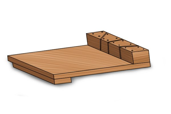 Bench hook with mitre kerfs