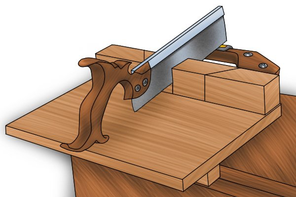 Making a straight cut with a mitre bench hook