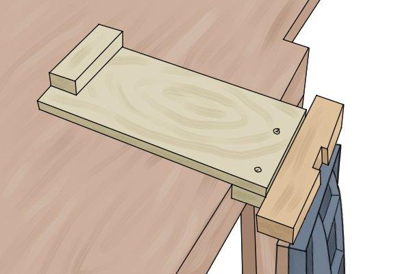Bench hook held in vice