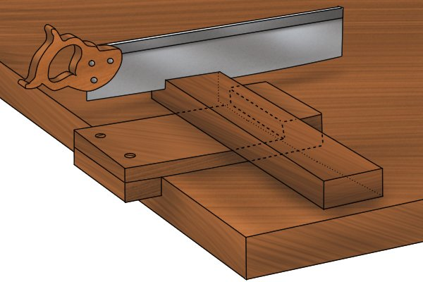 Bench hook raked face holds workpiece better
