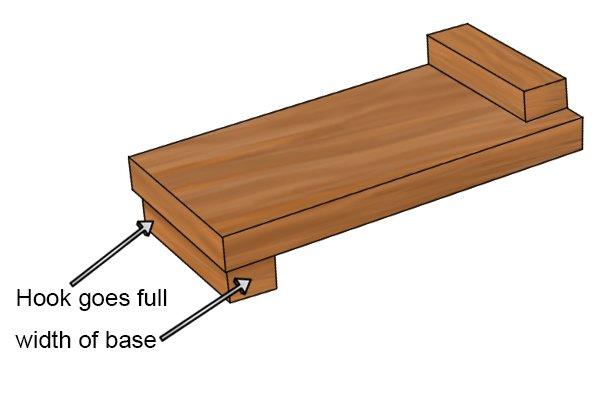 Hook goes full width of bench hook base