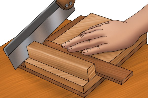 Sawing with workpiece on bench hook sub-base
