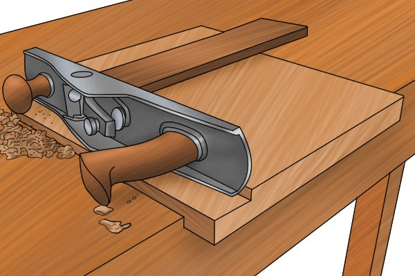 Smoothing end grain with workpiece held in bench hook with sub-base