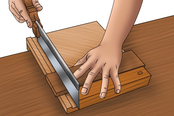 Sawing using bench hook with groove