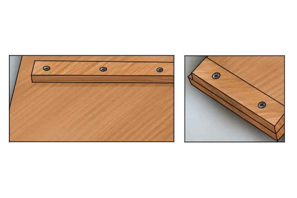 Bench hook stops secured with dowels and screws