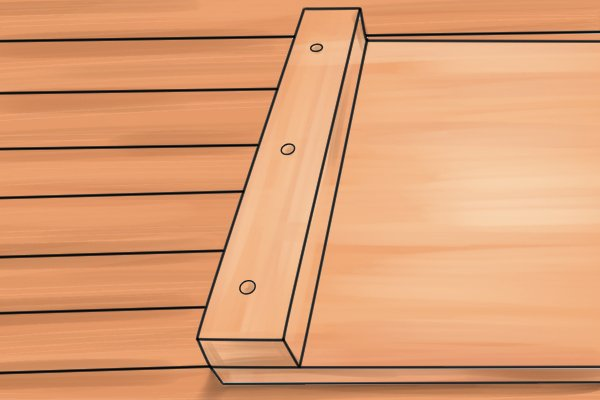 Bench hook with stop screwed to base