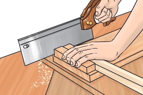 Basic sawing with a bench hook for support