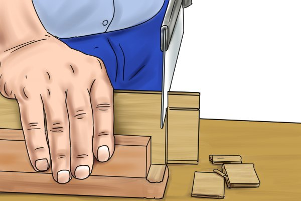 Cutting the tenon of a mortise and tenon joint