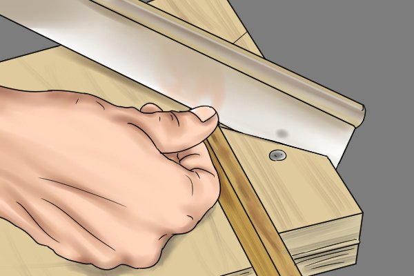 Sawing mitre using a bench hook