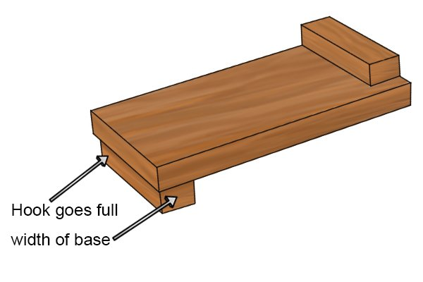 Hook of bench hook goes full width of base
