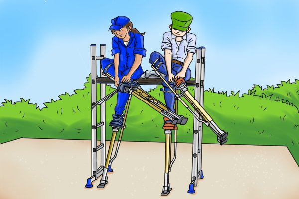 putting on stilts, sky walker stilts, dura stilts, wonkee donkee, DIY guide, tools plasterers stilts