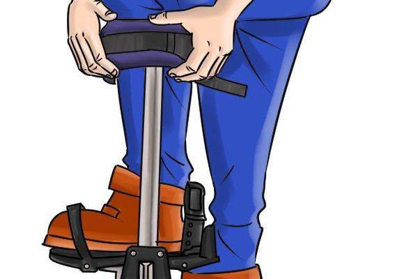 adjusting the calf strap brace, plasterers stilts, dura stilts, skywalkers, wonkee donkee tools, DIY guide