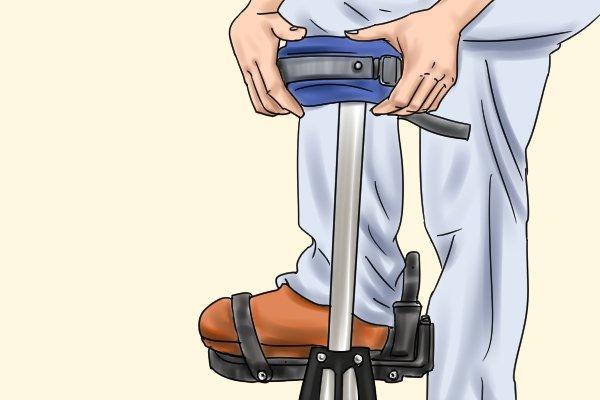 place your heel in the heel cap, plasterers stilts, dura stilts, skywalkers, wonkee donkee DIY tools guide