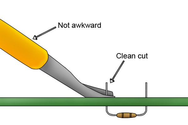 An angle-headed electronics cutter is much easier to use for cutting wires close to a flat surface