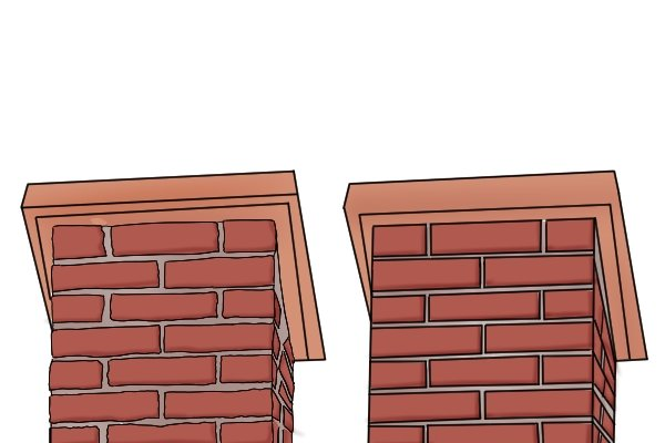 An example of what tuckpointing can do to a brick feature with irregular and damaged brick joints
