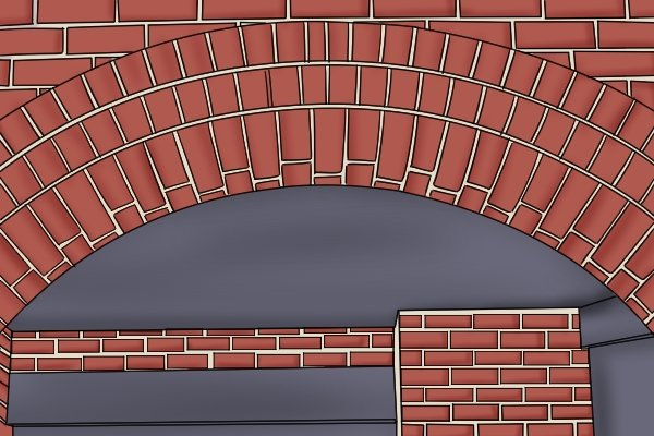 A redbrick arch that has been inlaid with white fillets