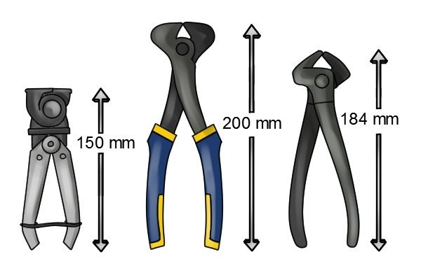 Three different sizes of end cutter