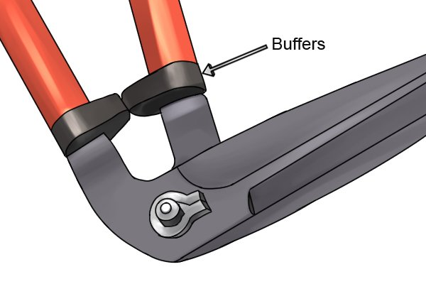 Plastic buffers at base of edging shear handles