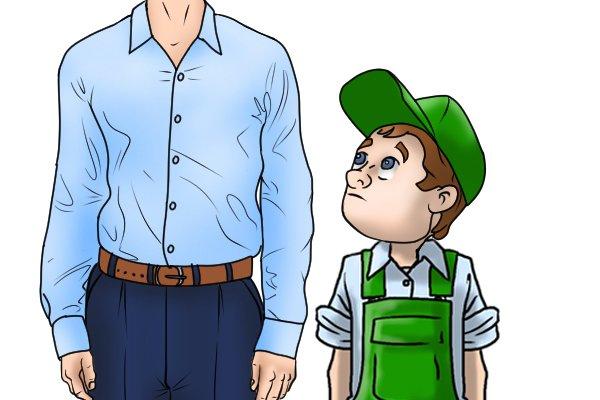 Tall man and short boy