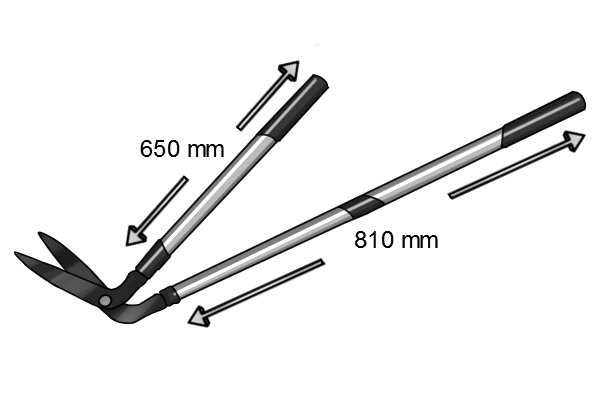 Telescopic edging shears showing different handle lengths