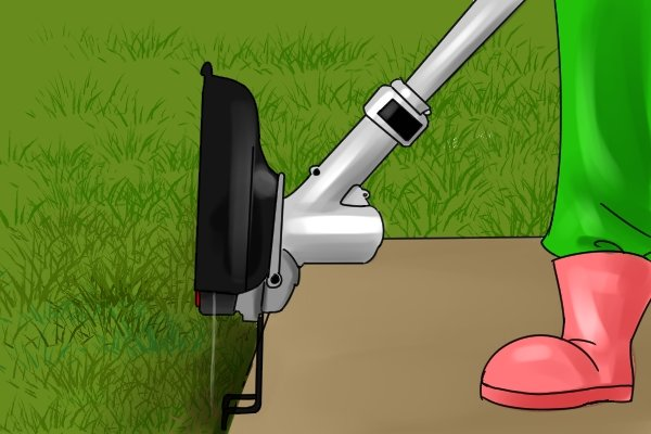 Edging wire on powered grass trimmer