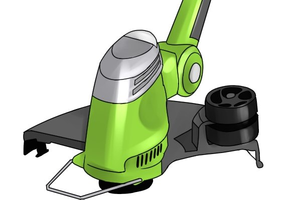 Grass trimmer with edging guide wheel