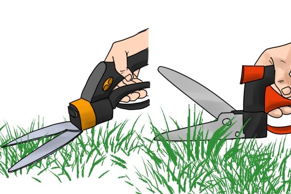 Short-handled swivel head edging shears in use