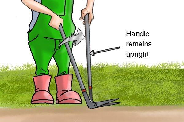 Using edging shears correctly, keeping one handle upright