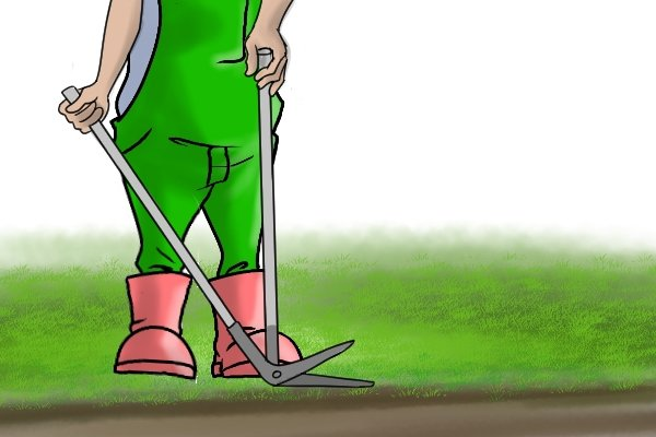 Cutting lawn border with edging shears