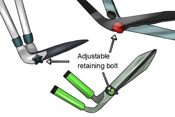 Three different retaining bolts