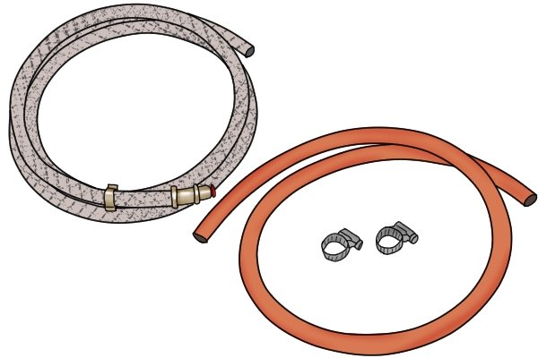 One silver and one orange gas hose with clips