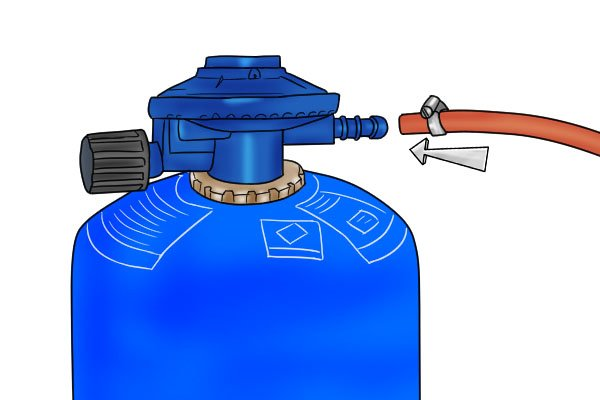 Attaching gas regulator to cylinder with hose