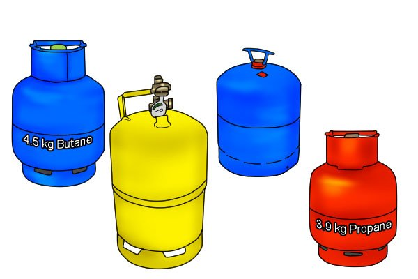 Four different sizes of gas cylinder