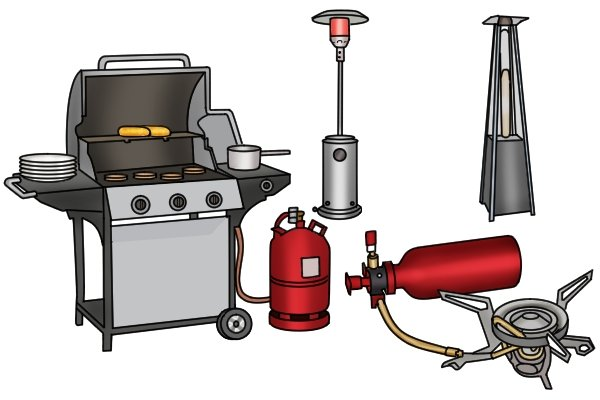 Camping stove, outdoor grill and two patio heaters with propane cylinder