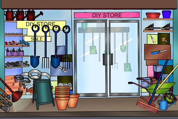 DIY store with tools in window and sale sign