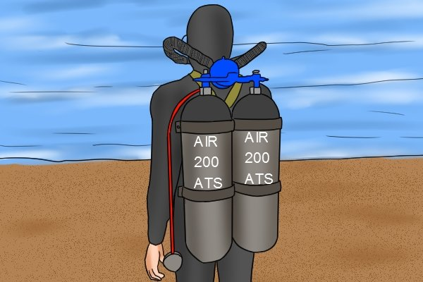 Diver with aqualung cylinders on his back about to go into the sea