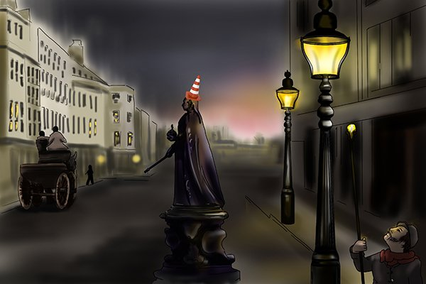 Victorian man in a London street at night lit by gas lamp